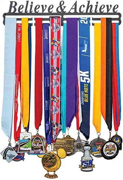 Runeer Medal Hanger Holder Display Rack Frame Stainless Steel Sturdy Wall Mount Over 40 Medals Easy to Install for Gymnastics