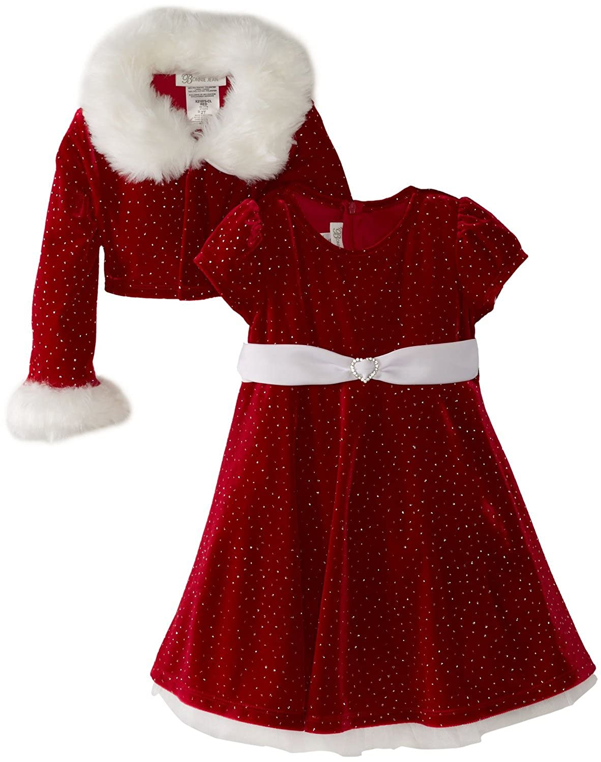 Kids 1950s Clothing & Costumes: Girls, Boys, Toddlers Bonnie Jean Girls Christmas Dress Velvet Sparkle Dress with Jacket $46.98 AT vintagedancer.com