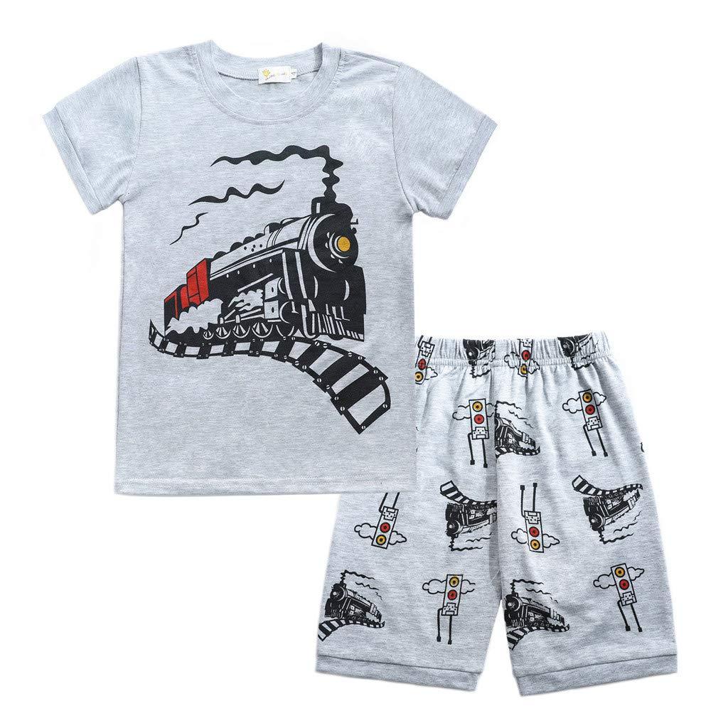 Tronet Summer Outfits Set Toddler Baby Boy Cartoon Tops T-Shirt Shark Shorts + Pants Outfits Set Sleepwears