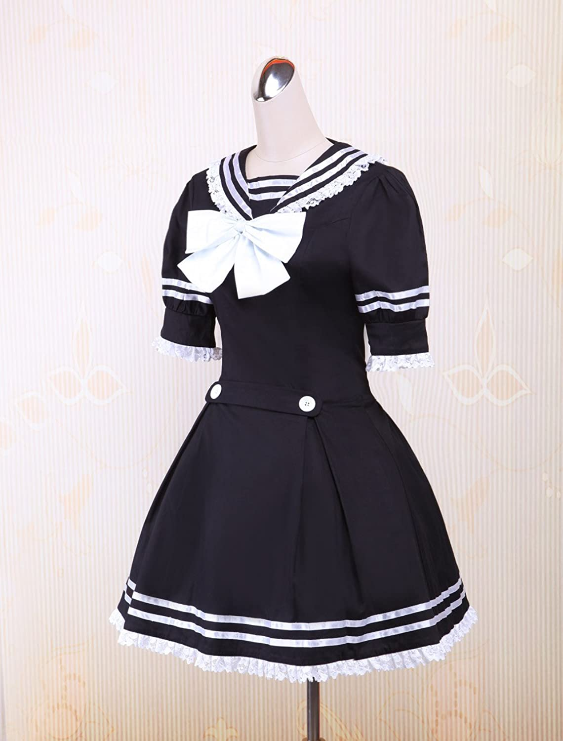 Vintage Style Children's Clothing: Girls, Boys, Baby, Toddler antaina Black Cotton Bow Lace Sweet Sailor Student Lolita Cosplay Dress $58.99 AT vintagedancer.com