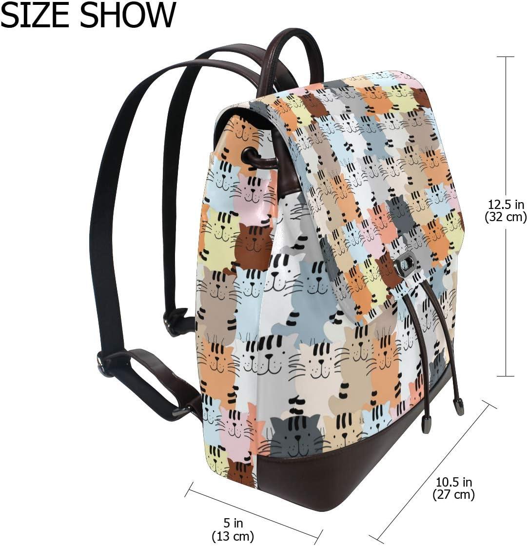 Unisex PU Leather Backpack Cute Cat Kitty Kitten Cartoon Print Womens Casual Daypack Mens Travel Sports Bag Boys College Bookbag