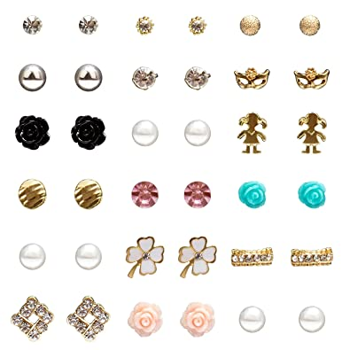 05a274e625d49 YISSION 18 Pairs Small Cute Simple Post Multiple Stud Earrings Rhinestone  Stud Earrings Set Stainless Steel Earring for Women
