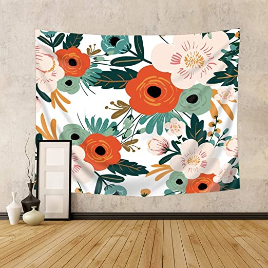 Riyidecor Spring Flower Tapestry 51H x 59W Inch Green Leaves Tapestry Blooming Floral Rustic Retro Tapestry Beauty Girl Woman Bathroom Wall Hanging Indigenous Bedroom Living Room