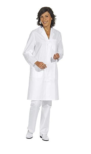 Bata corta de señora y hombre, manga larga, blanco, algodón (XS)