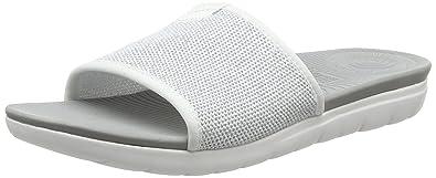 a3c22908637568 FitFlop Women s Uberknit Slide Sandals Urban White Silver 5 ...