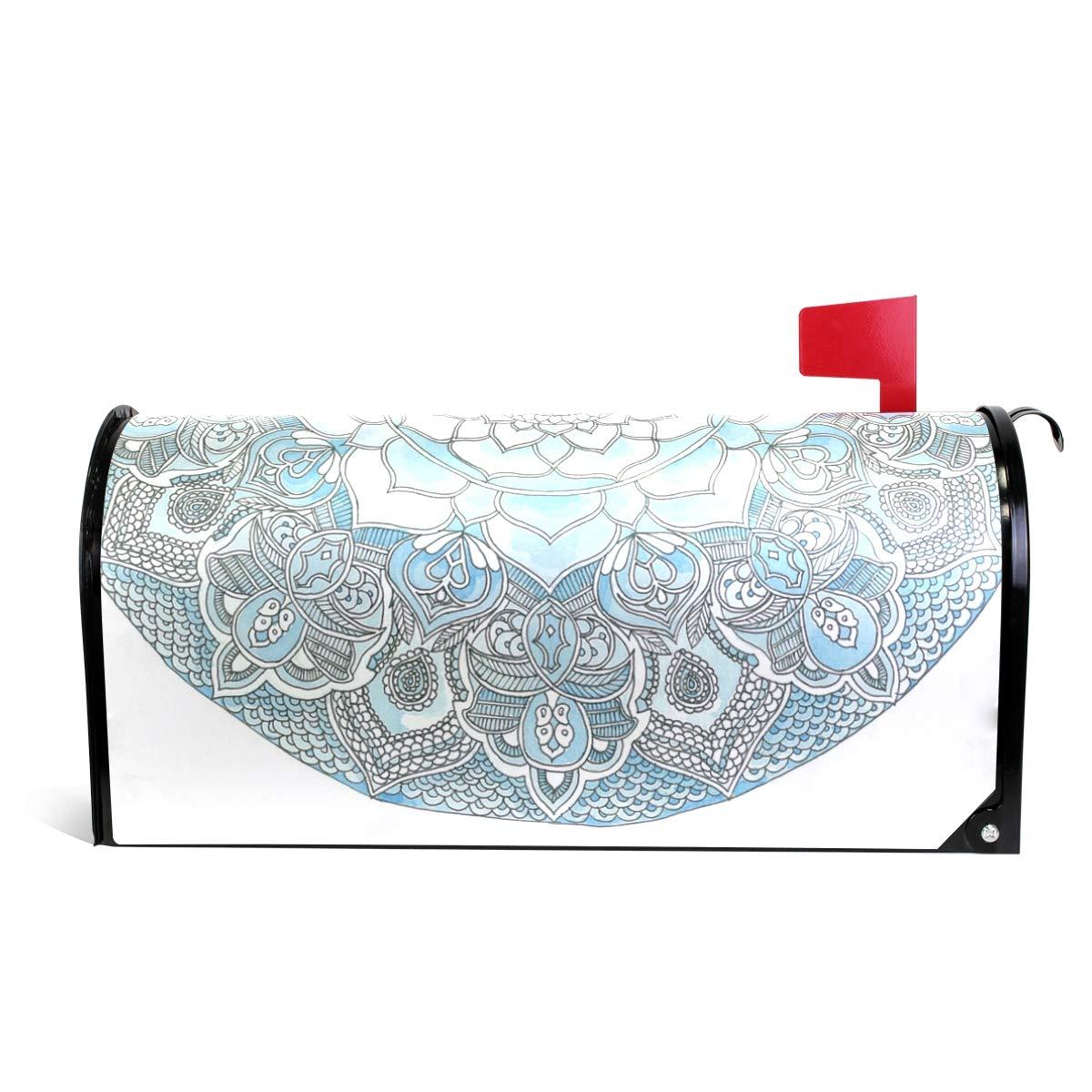 Chu warm Mailbox Covers Magnetic Abstract Light Blue Mandala Standard Size