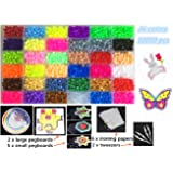 Mini Perler Beads Fuse Beads Kit-10000pcs 36 Colors(6 Glow in the Dark) Peg Boards,Color Cards,Iron Papers,Tweezers-Craft DIY for Kids Adults Chirdren