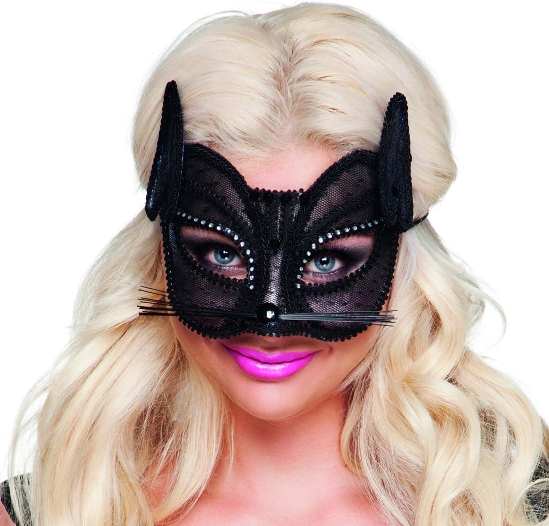 Domino de Chatte NET TOYS Masque de Chat en Dentelle Accessoire d/éguisement V/énitien Masque Catwoman