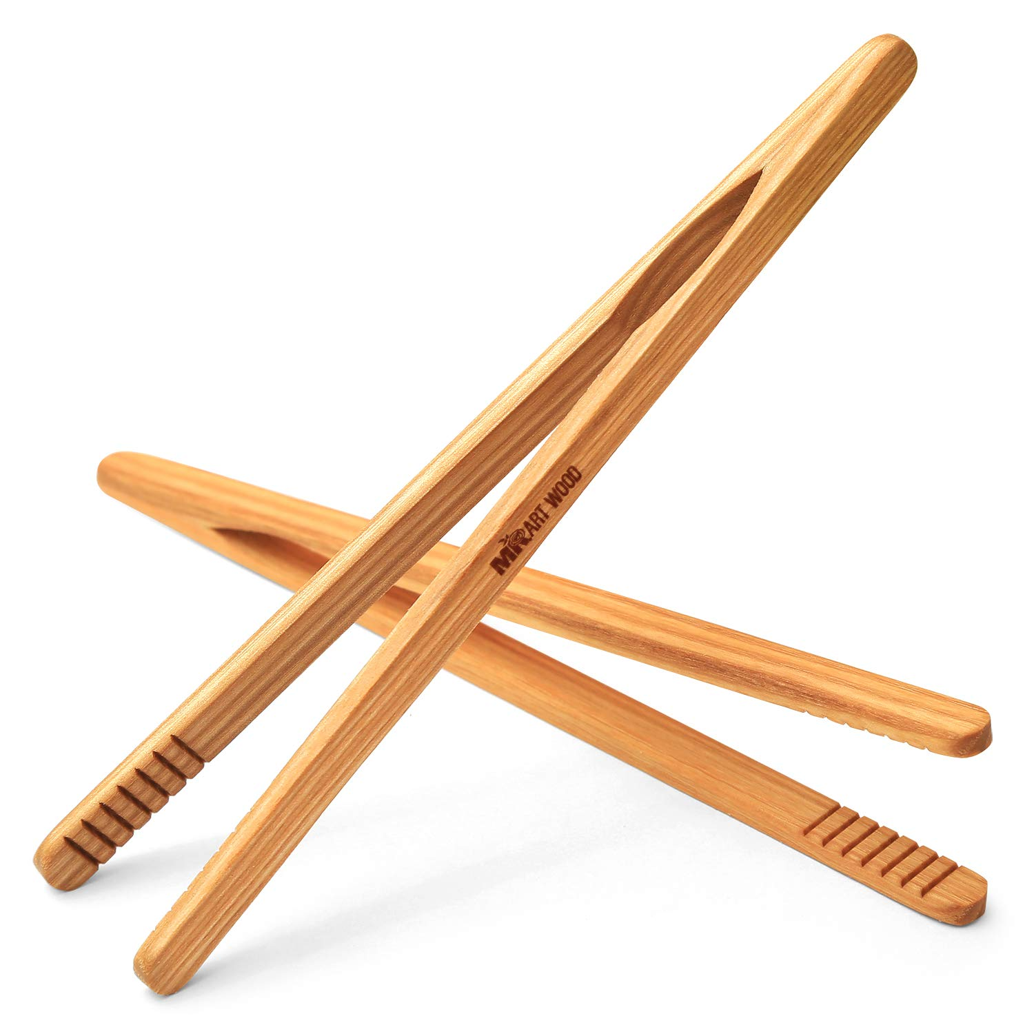 Mr.Art Wood Ultra Grip Wooden Toaster Kitchen Tongs (Pack of 2), 8'' Generous Length, Ideal for Toast, Fruits, Bread & Pickles, 100% Natural Ash Wood