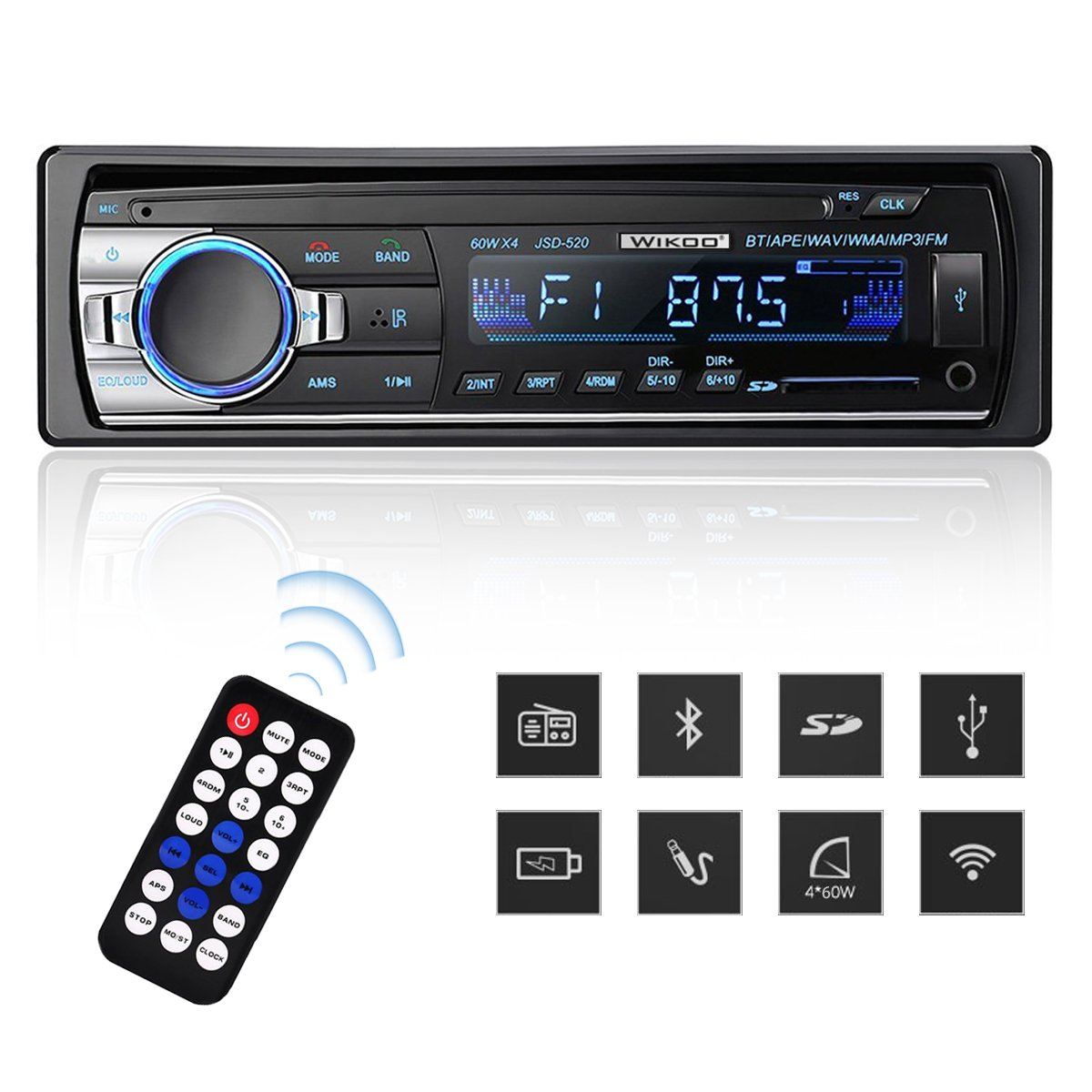 Digital Car Stereo - Wikoo Single-Din Bluetooth Car Stereo In Dash with Remote Control - Receivers USB/SD/Audio - MP3 Player/FM Radio, Supports Hands Free Calling by Wikoo (Image #1)