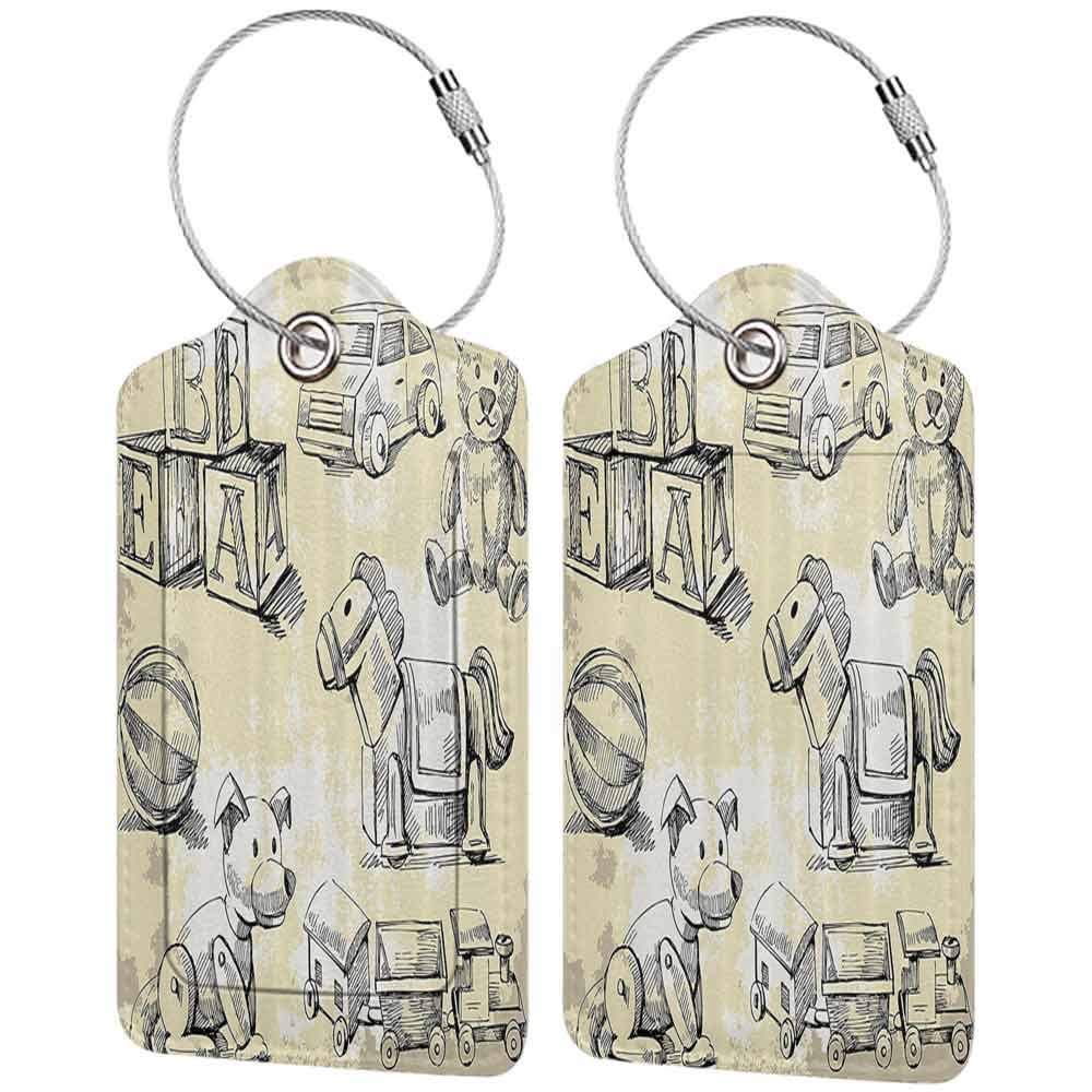 Waterproof luggage tag Vintage Decor Illustration of Kids Old Style Toys on Grunge Setting Teddy Bear Train Ball Childhood Soft to the touch Beige Black W2.7 x L4.6