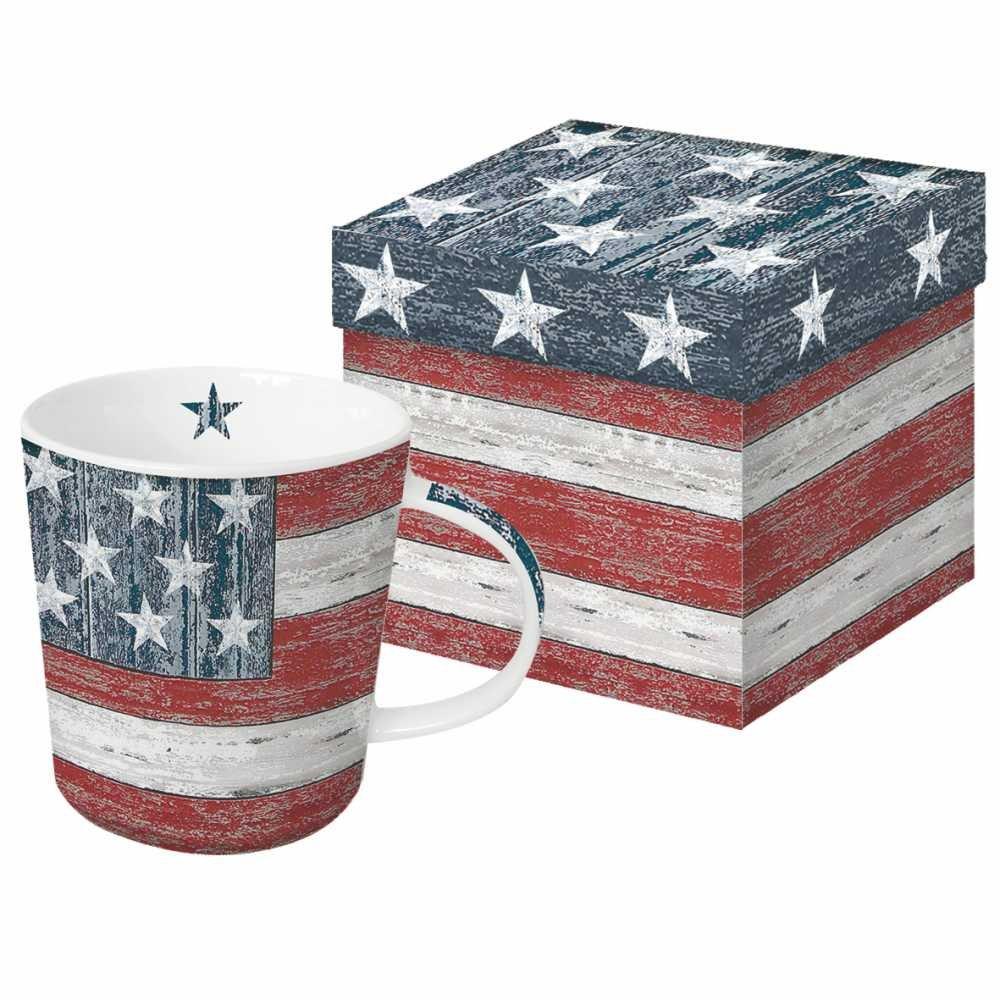 13.5 oz Paperproducts Design Vintage America New Bone China Large Capacity Gift Boxed Mug Multicolor 602792