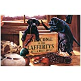 "Black Labrador Retriever Puppies in Personalized Wood Ammo Box with the Tagline reading ""It's a Ruff Joint"". Gift with Your Family Name. Poster, Print"