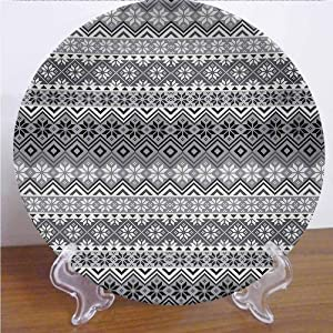 Albert Lindsay Backdrop Grey 10 Inch Dinner Plate Nordic Snowflake Knit Patterns Scandinavian Motifs Traditional and Modern Print Tableware Plate Decor Accessory for Party Kitchen,Gray White Black