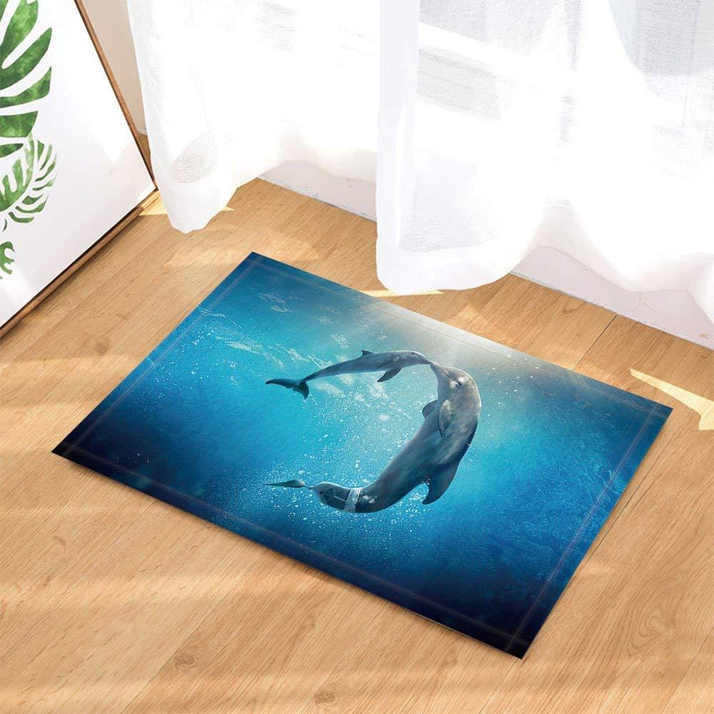 fdswdfg221 Océano de Delfines Inteligente Gracia Criatura Amigo Humano Antideslizante Felpudo Piso Entradas Entrada Puerta Delantera Interior Estera de Accesorios