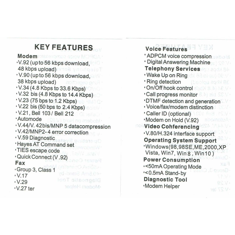 USB 56K External Dial Up Voice Fax Data Modem Windows 10/8/7/XP/Vista
