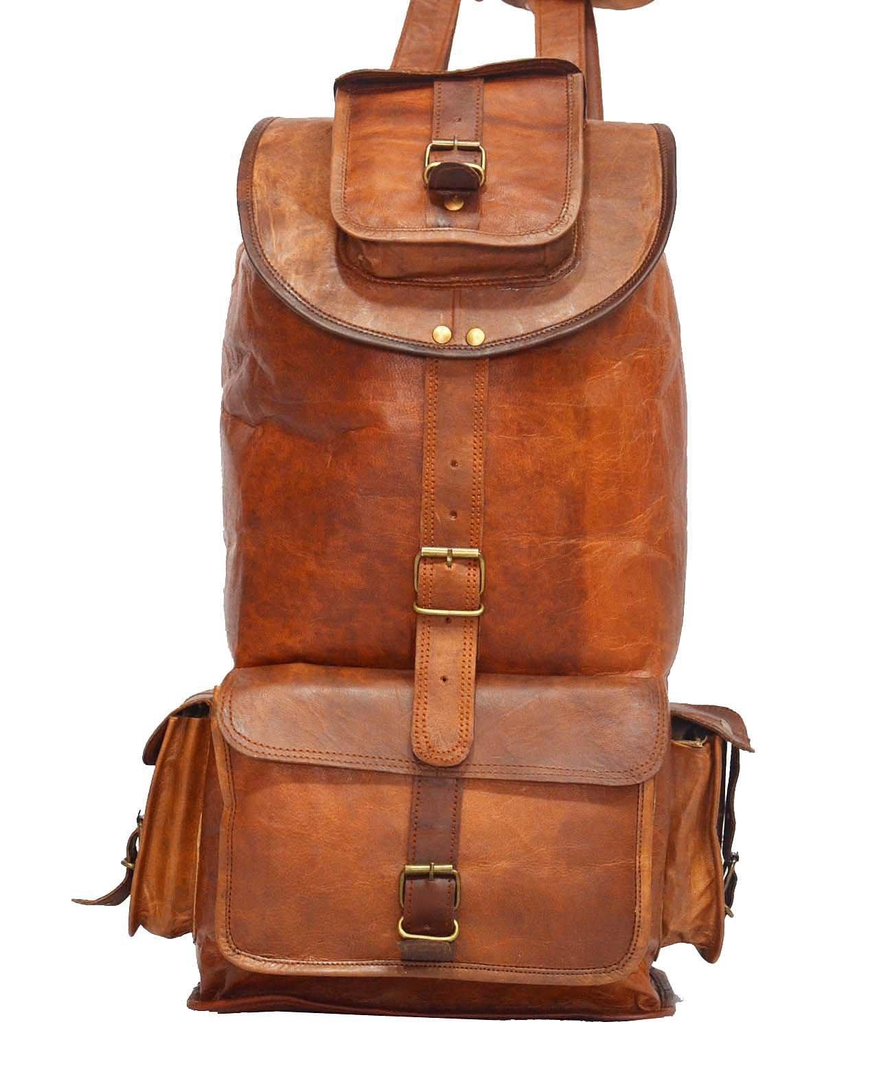 Vintage Genuine Leather Backpack Rucksack Shoulder Travel Sling Satchel Hobo Bag 20''