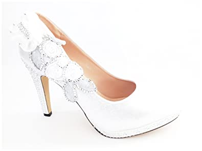 36c76bdc1b Silver Wedding Shoes - Stunning Crystal Ladies Bridal High Heel Brides/Bridesmaids  Shoes (8