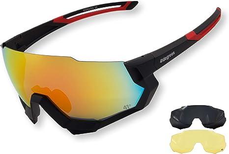 41degrees. Gafas de sol Polarizadas con 3 Lentes Intercambiables UV400. 3 en 1 Gafas de Ciclismo, Running o Esquí con cristales polarizados. Máscara Unisex modelo Moraira: Amazon.es: Deportes y aire libre