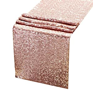 ACRABROS Sequin Table Runners Rose Gold- 12 X 108 Inch Glitter Rose Gold Table Runner-Rose Gold Party Supplies Fabric Decorations for Wedding Birthday Baby Shower