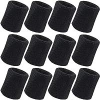 Vidillo Sweatband, Wrist Sweatband 12 Pack, 4 Inch Sports Sweatband Wristband Soft Thicken Cotton,for Tennis Gymnastics Football Basketball, Running Athletic Sports