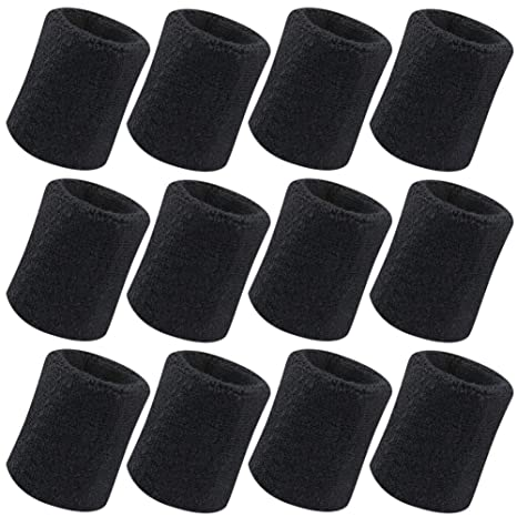Senkary 6 Pack Sports Wristband Wrist Sweatbands Elastic Athletic Cotton Wrist Bands Set for Football Basketball Tennis All Sports Gymnastics