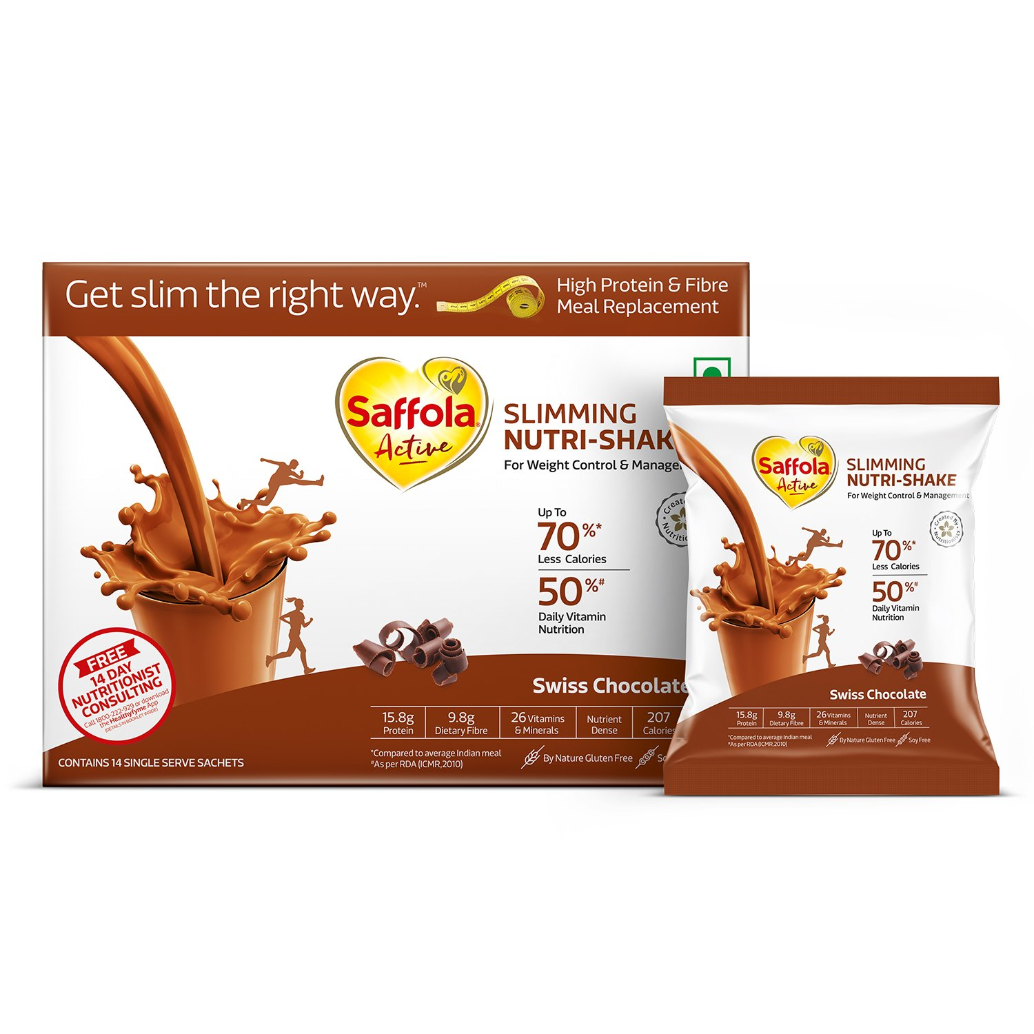 Saffola Active Slimming Nutri-Shake - 50 g (Pack of 14, Swiss Chocolate)