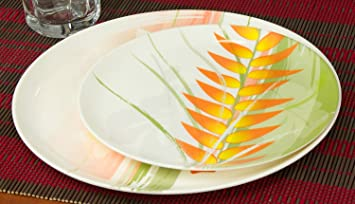 Zak! Dinner u0026 Salad 8 Plate Set. Melamine Dinnerware with Tropical Bamboo Pattern on & Zak! Dinner u0026 Salad 8 Plate Set. Melamine Dinnerware with Tropical ...