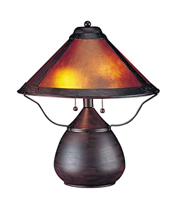 cal lighting bo464 table lamp with mica glass shades rust finish - Cal Lighting