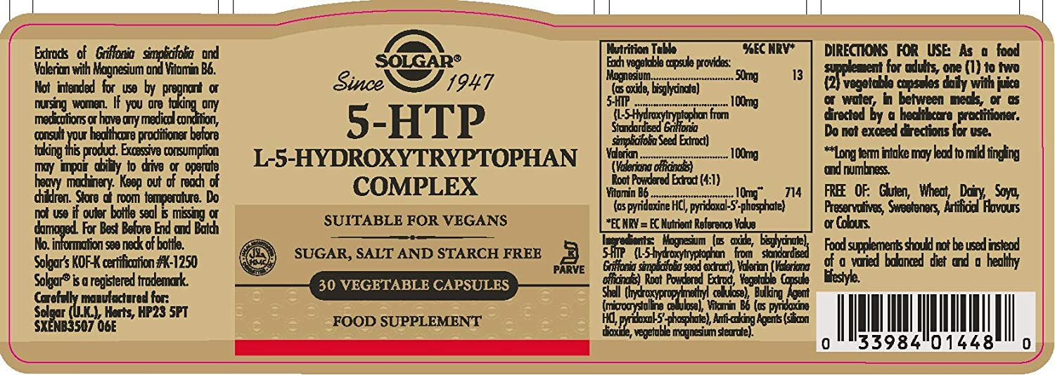 Amazon.com: Solgar – 5-HTP 100 mg, 30 Vegetable Capsules: Health & Personal Care