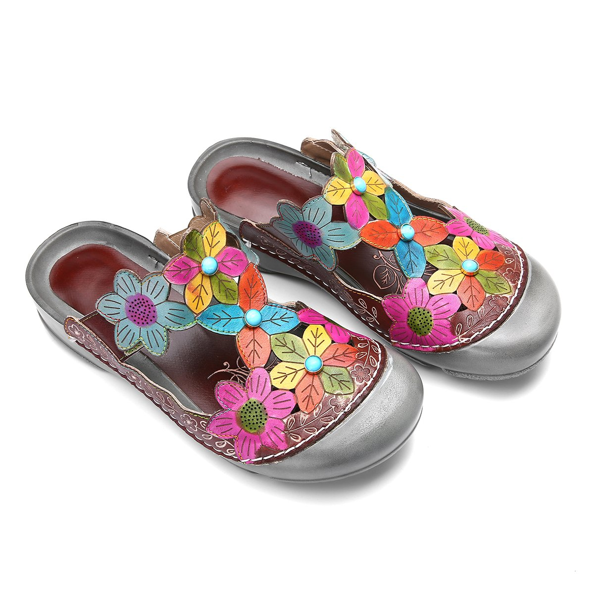 Camfosy Womens Leather Clogs Summer Slip On Flat Sandals Vintage Colorful Closed Toe Slippers Mule Clogs Shoes CAMFOSY Unius65465359799