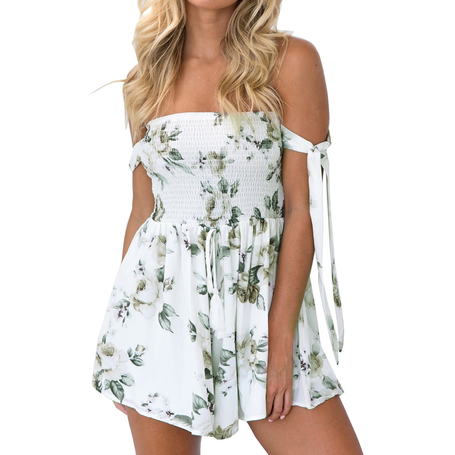VertHome Floral Tube Top Romper Off Shoulder Pleated Pantskirt Style Short Jumpsuit with Arm Straps