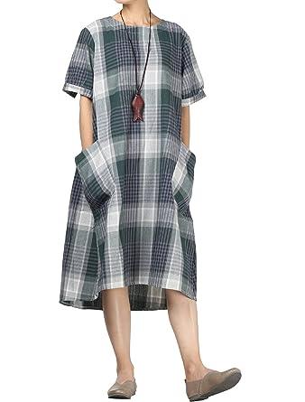 29bbac1234feca Mallimoda Damen Neue Kariertes Kleid Sommer Langes Shirt Kleider  Leinenkleid Grün