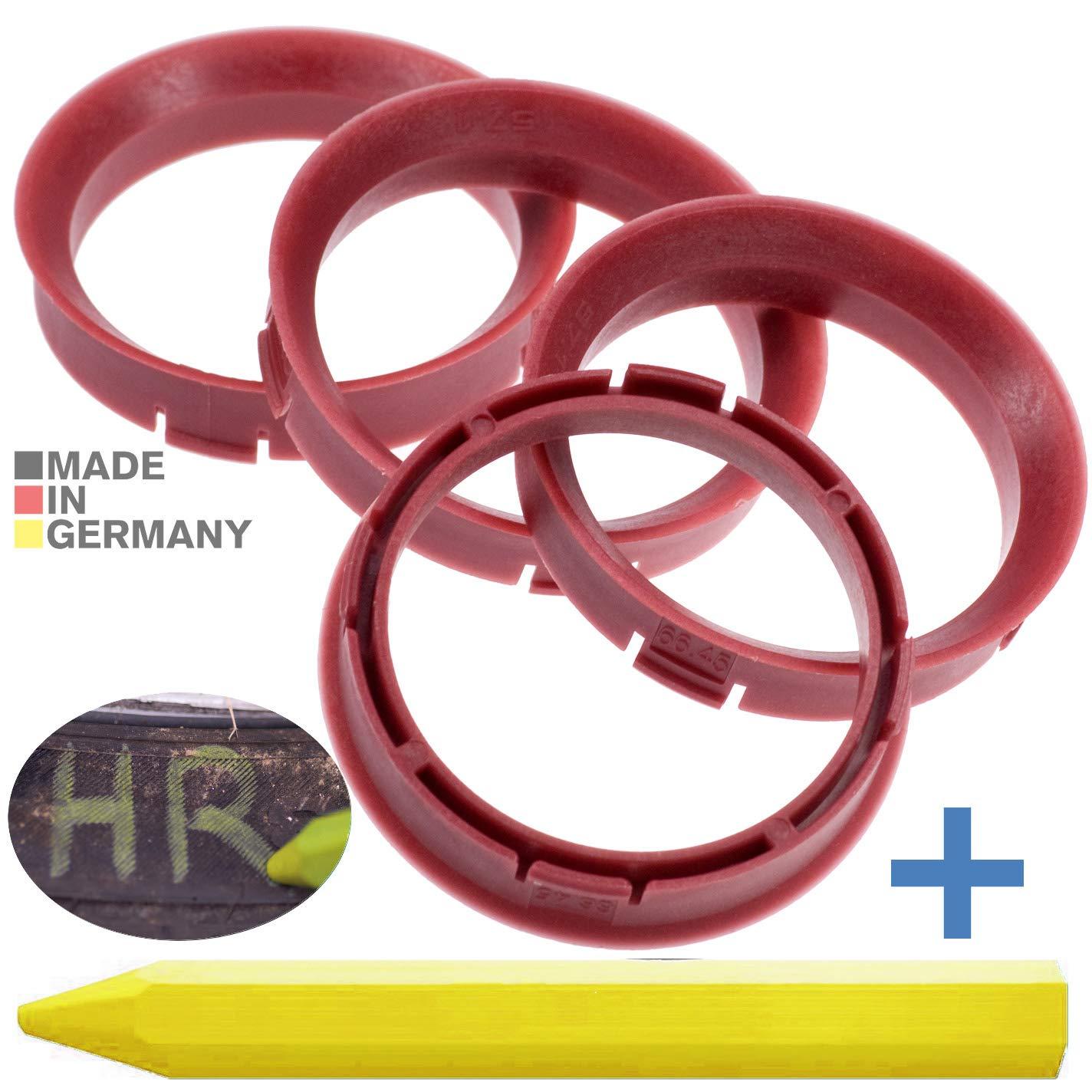 4X Anelli di centraggio Rosso 66,45 mm x 57,1 mm 1x Pastello per Gomma Pneumatici in Verde Prodotto in Germania