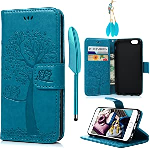 MOLLYCOOCLE iPhone 6 Case, iPhone 6S Case, Vintage Premium PU Leather Wallet Case Owl Tree Embossed Pattern TPU Inner Wrist Strap Credit Card Holders Flip Folio Shockproof Stand Cover, Blue