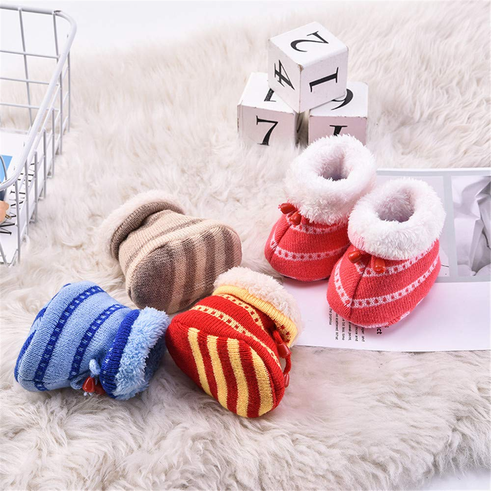 Baulody Baby Boys Girls Fleece Non-Skid Booties Newborn Infant Soft Knit Winter Warm Crib Shoes Snow Boots