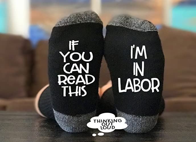 if you can read this im in labor socks funny novelty gag