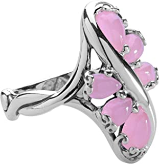 product image for Carolyn Pollack Sterling Silver Pink Jade Gemstone Cluster Ring Size 6