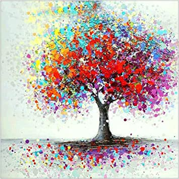 MXJSUA DIY 5D Diamond Painting Full Round Drill Kits Rhinestone Picture Art Craft for Home Wall Decor 12X12In Colorful Tree