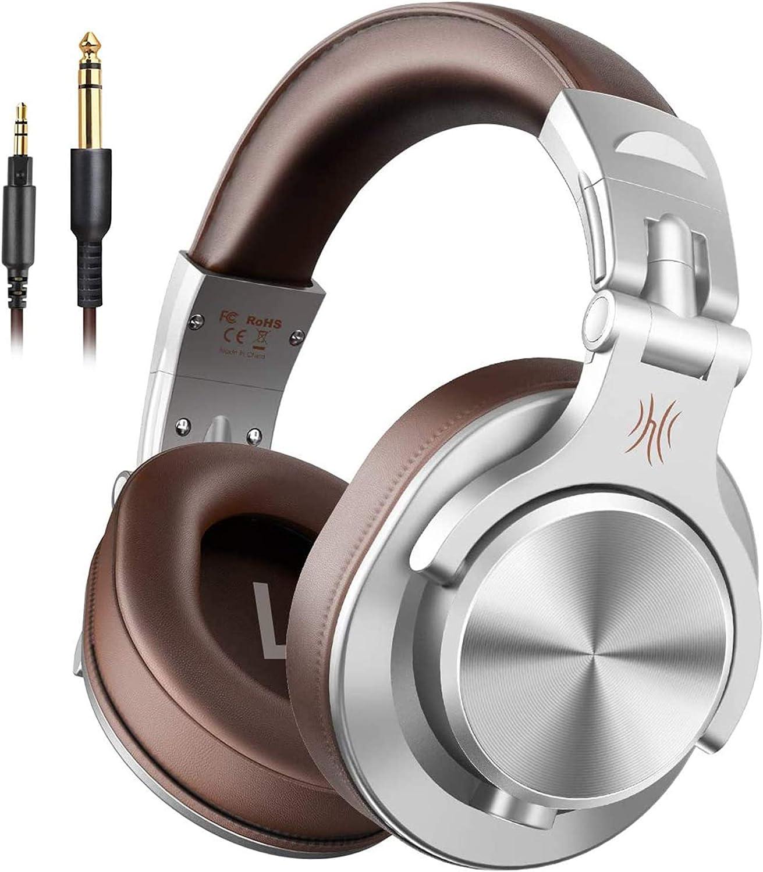 Auriculares OneOdio sobre la oreja, auriculares DJ con cable, auriculares HiFi de estudio con puerto compartido para monitor de grabación AMP de guitarra de piano e-drum (Plateado)