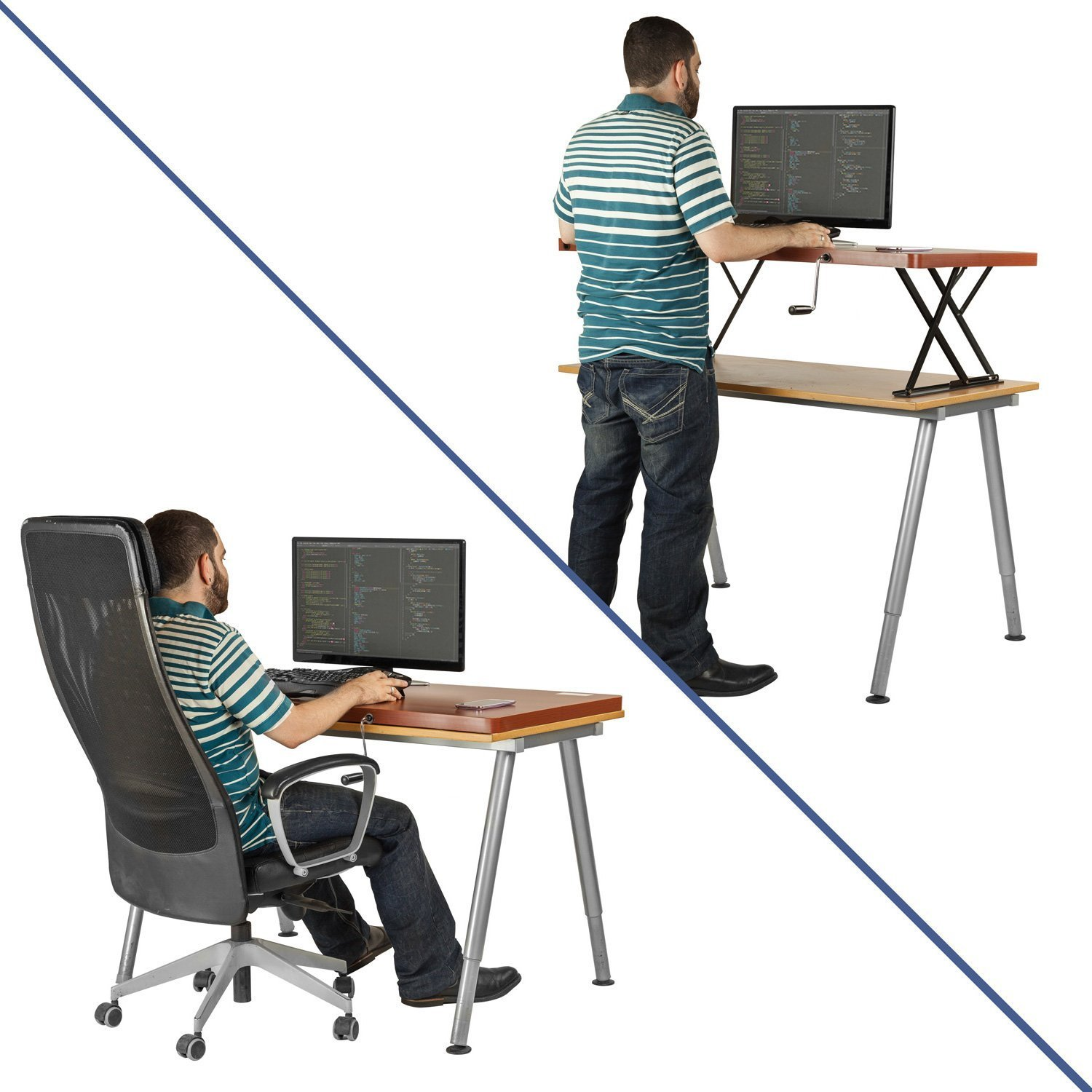 Amazon.com : Halter Manual Adjustable Height Table Top Sit / Stand Desk  (Cherry) : Office Products