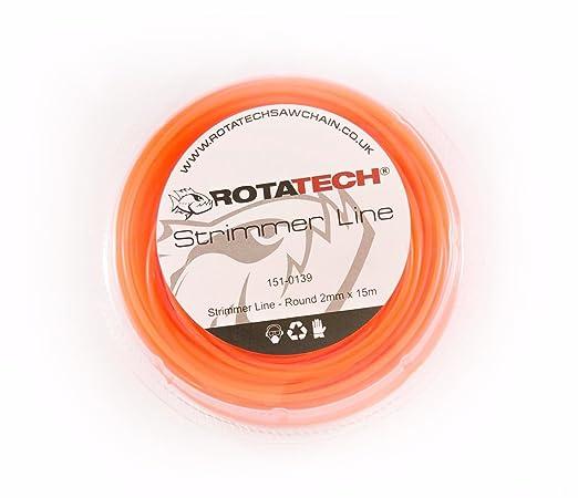 rotatech 15 m x 2.0 mm Heavy Duty redondo cortacésped línea ...