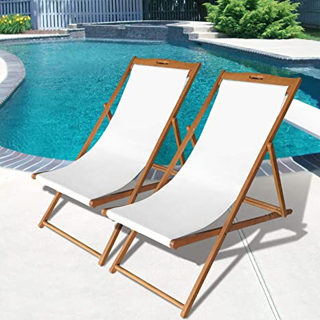 Superb Beach Sling Chair Set Patio Lounge Chair Outdoor Reclining Beach Chair Wooden Folding Adjustable Frame Solid Eucalyptus Wood With White Polyester Dailytribune Chair Design For Home Dailytribuneorg