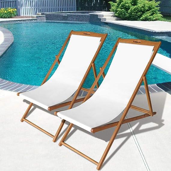 Amazon.com: Juego de 2 sillas de playa reclinables de madera ...