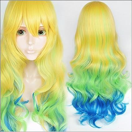 LanTing Cosplay Peluca The Maid Dragon Of Kobayashi-San Blonde Mix Green Blue Curl Long