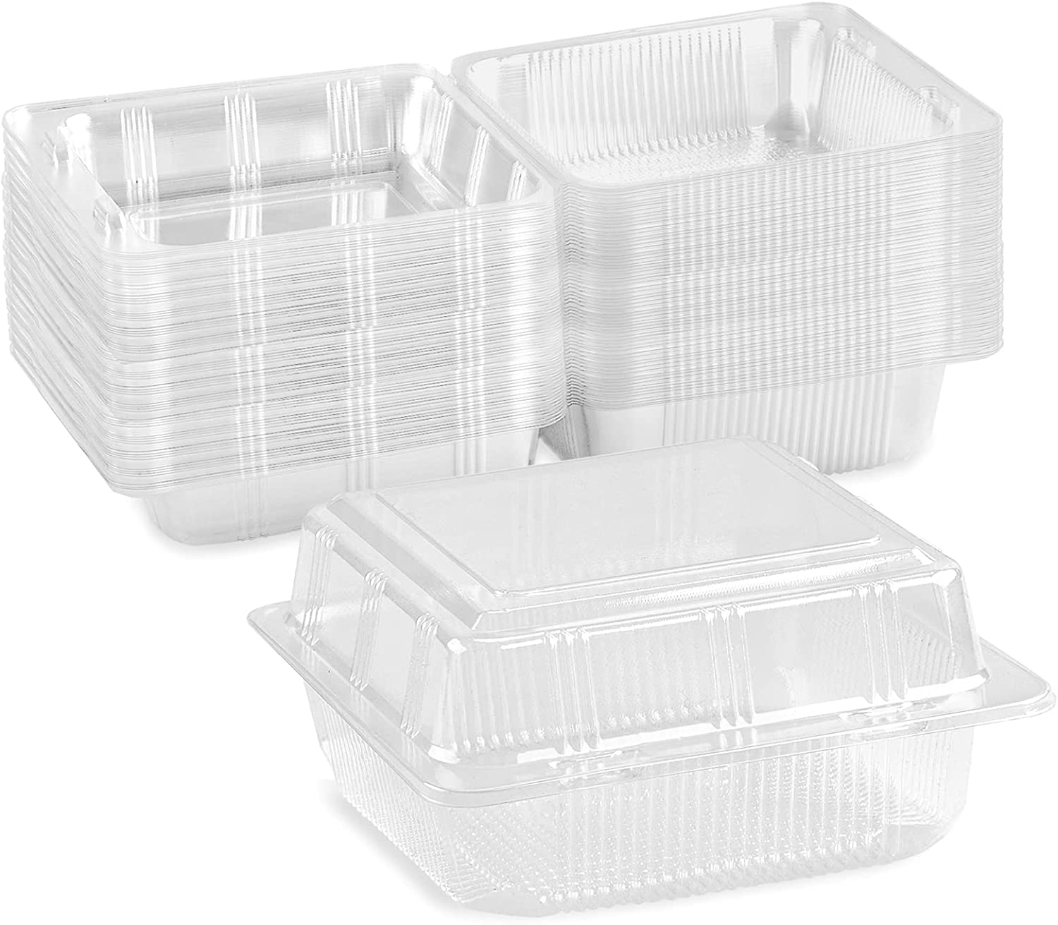 50Pack Clear Plastic Square Hinged Food Containers, Disposable Food Containers with Lids Take Out Clamshell Dessert Boxes for Cake Piece Sandwich Salad Pasta (5.1in x 5.3in x 2.6in)