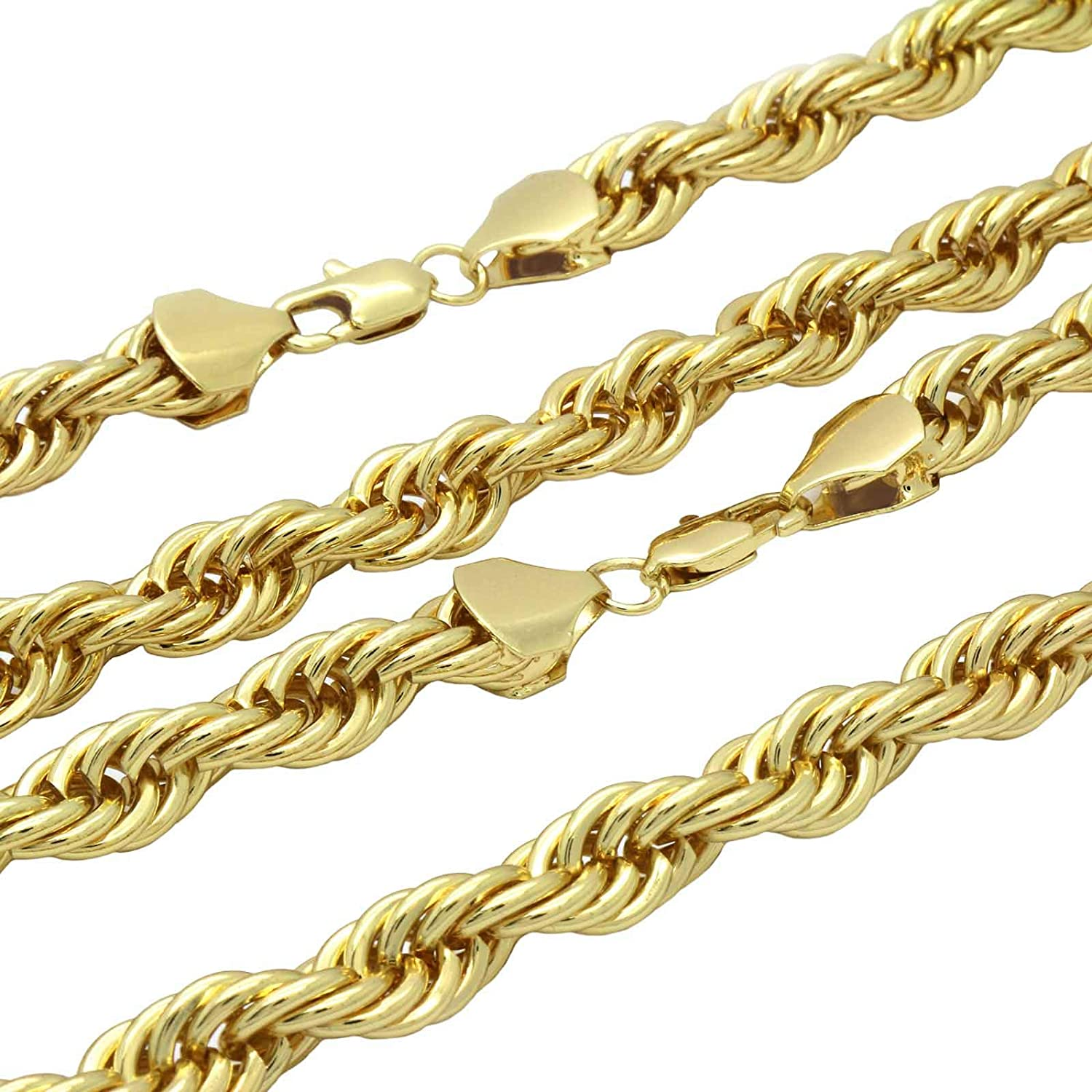 L /& L Nation 16k Gold Plated Hip Hop Fully CZ Lion Gold Black Pendant with 2 Rope Chain 10 mm 24//20
