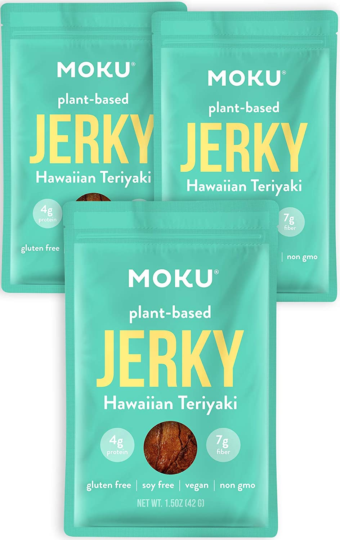 Moku Plant-Based Mushroom Jerky (3 Pack) Vegan Jerky, Gluten-Free, Soy-Free, Non-GMO Vegan Snacks, Vegan Meat No Artificial Sweetener Vegan Food, 1.5 oz ea - Hawaiian Teriyaki
