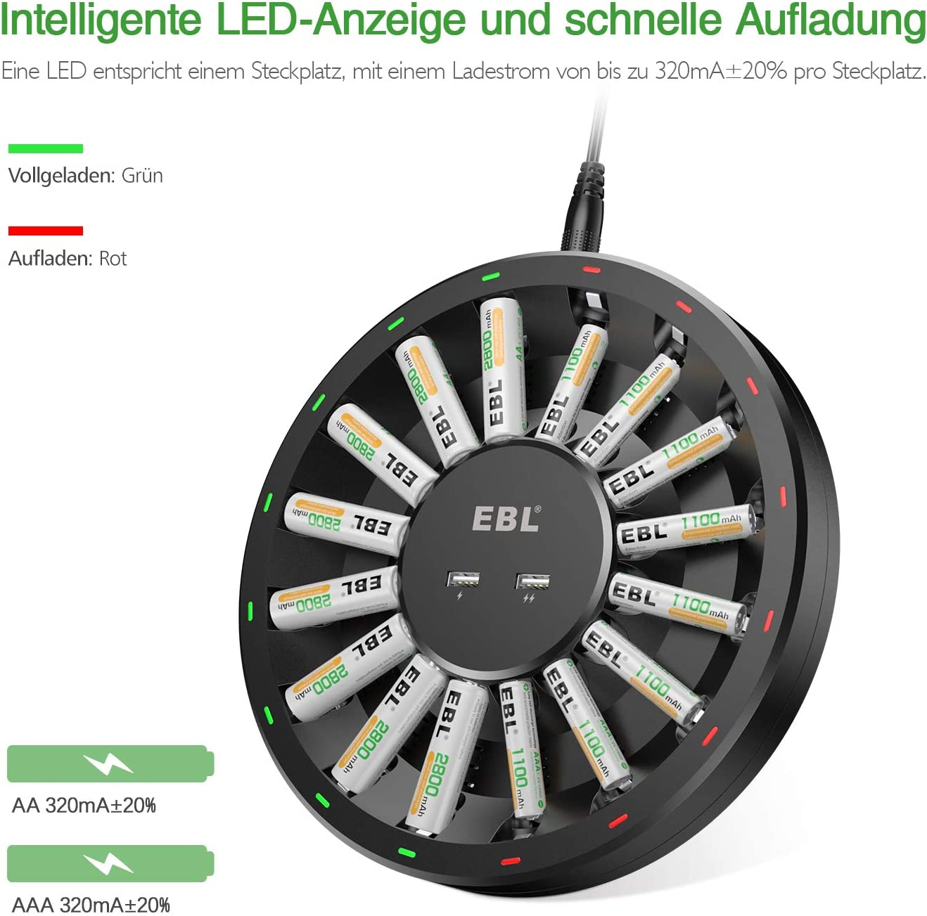 individuelles Akkuladeger/ät f/ür AA AAA Akkus und USB Ger/äte 2-USB Outports EBL Batterieladeger/ät 16 Fach LED Anzeige