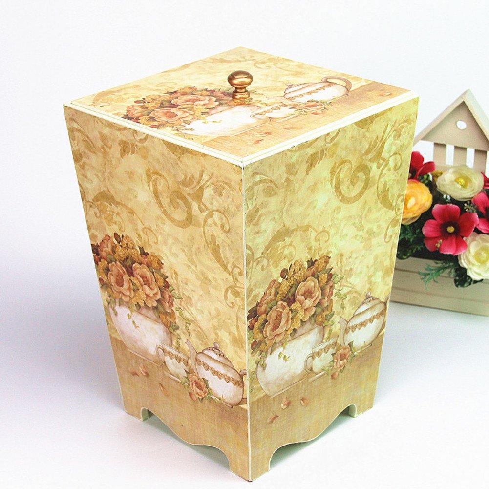 Aufbewahren & Ordnen VING Vintage Holz mülltonnen,Matte-Painting-Stil-Wohnzimmer-Schlafzimmer mit Deckel kreative Luxus lagerung fass mülleimer mülltonne-J 25x25x36cm 10x10x14inch